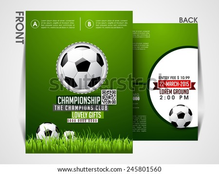 Soccer event flyer template Eps10, Brochure, magazine cover. - stock vector