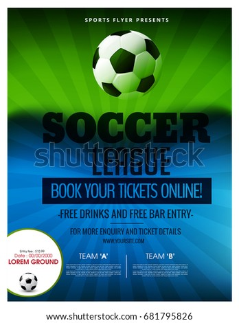 Soccer Event Flyer Template Eps 10 Football Stock Vector 2018