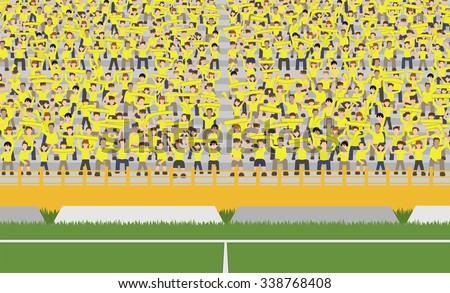 soccer field and crowd of yellow team cheering on grandstand vector - stock vector