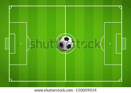 Soccer field and soccer ball - Vector illustration - stock vector