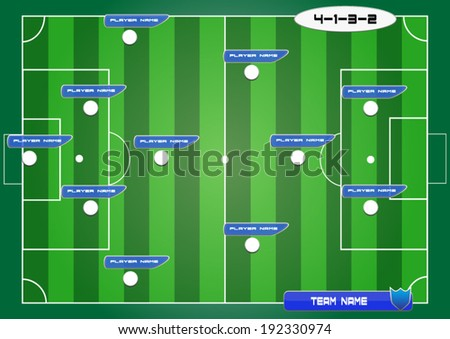 soccer field background with strategy formation tactics 4-1-3-2 - stock vector