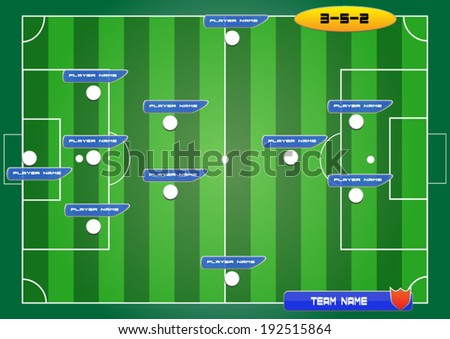 soccer field background with strategy formation tactics 3-5-2 - stock vector