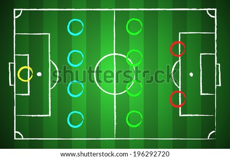 Soccer field chalk drawn style with tactical scheme 4-4-2. illustration eps 10
