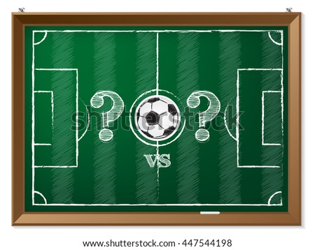 Soccer field drawing with question mark vs question mark - stock vector