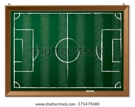 Soccer field drawn on hanging green chalkboard  - stock vector