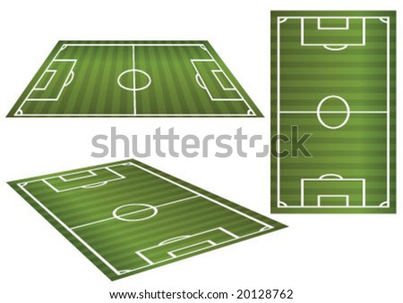 Soccer field in 3 different aspect - stock vector