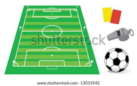 Soccer field in perspective with the whistle and ball - stock vector
