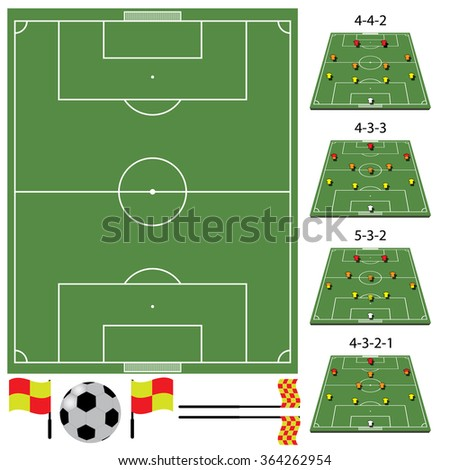 soccer field - tactics - stock vector