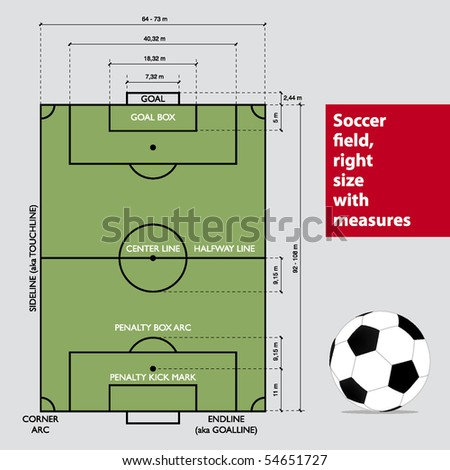 Soccer field with measures. Vector. - stock vector