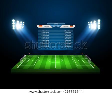 Soccer field with scoreboard,vector - stock vector