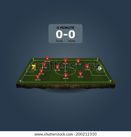 Soccer field with team formation in perspective view - stock vector