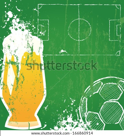 Soccer / Football and beer,free copy space, vector  - stock vector