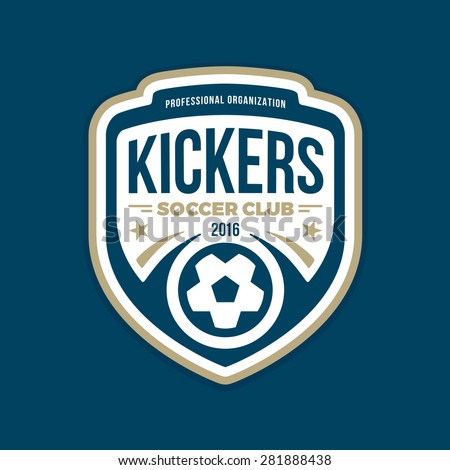 Soccer football badge crest logo graphic with text - stock vector