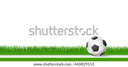soccer football ball on green grass over white background. vector