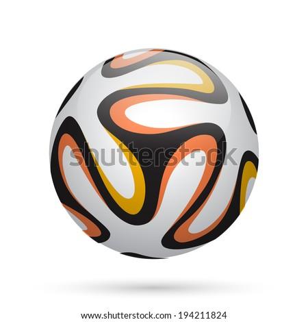 Soccer / Football ball with orange lines. Vector illustration. - stock vector