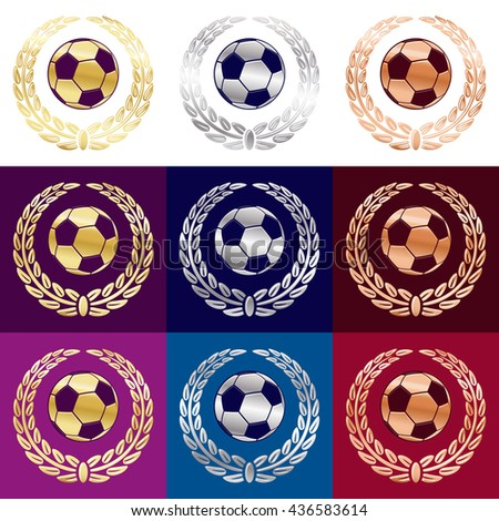 Soccer football balls in three different metal color gold, silver, bronze with laurel wreath. Vector illustration. Isolated on backgrounds with different color.