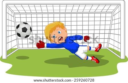 Soccer football goalie keeper saving a goal  - stock vector