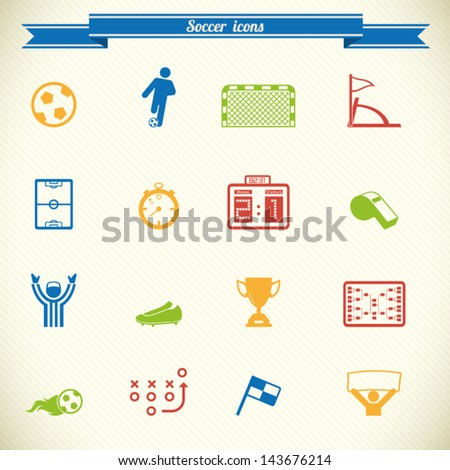 Soccer, football icon set in color - stock vector