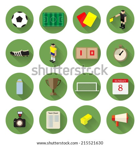 Soccer football Icons set flat design with long shadow Illustration eps10 - stock vector