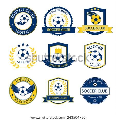 Soccer Football logos, badges, emblems set , vector illustration - stock vector