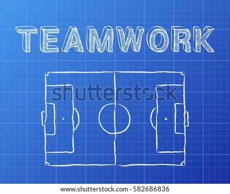 Soccer football pitch diagram teamwork word stock vector 2018 soccer football pitch diagram and teamwork word on blueprint background malvernweather Gallery