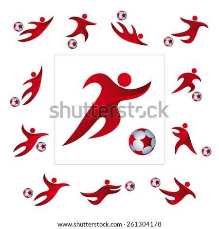 Soccer (football) player icon with ball isolated, illustration vector design - stock vector