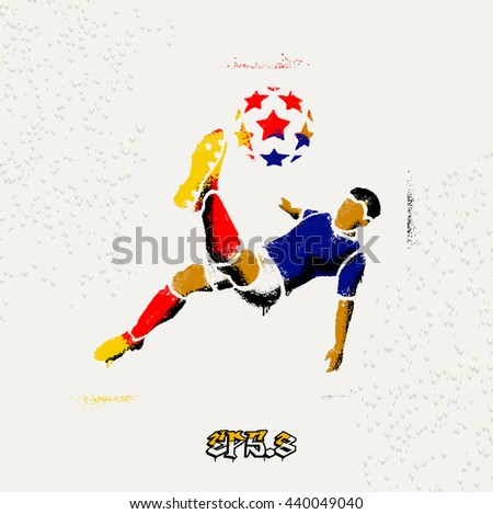 Soccer (Football) player in a jump on a ball hit his foot.Color stencil on the wall. Streetart. eps8