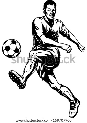 Soccer football player in motion. Vector illustration - stock vector