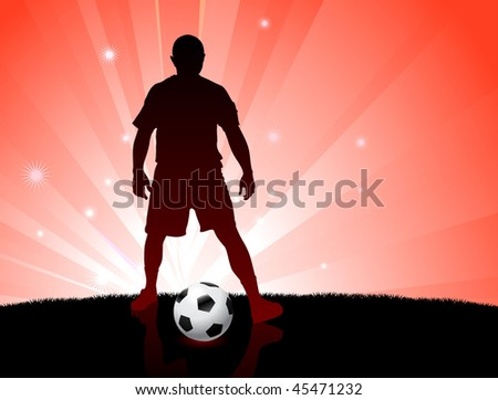 Soccer/Football Player on Glowing Red Background Original Vector Illustration