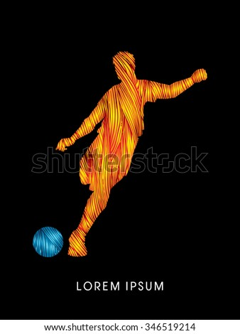 Soccer, football, player silhouette, designed using line fire brush graphic vector. - stock vector