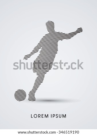 Soccer, football, player silhouette, designed using line graphic vector. - stock vector