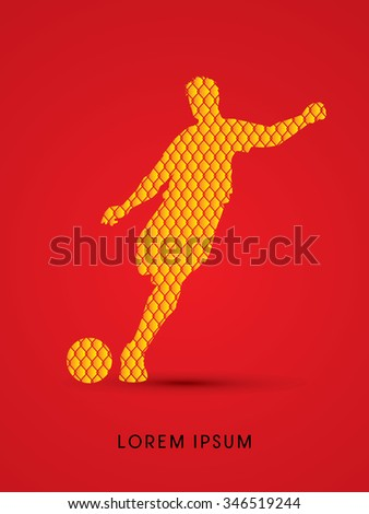 Soccer, football, player silhouette, designed using line net pattern graphic vector. - stock vector