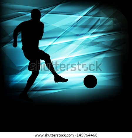 Soccer football player silhouette vector abstract blue background