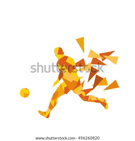 Soccer football player vector background abstract illustration concept  made with polygon fragments isolated on white