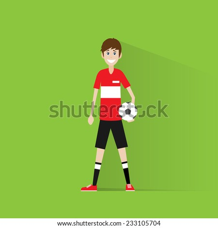 soccer football player with ball flat icon design vector illustration - stock vector