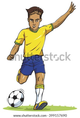 soccer football player young man kicking in silhouette vector