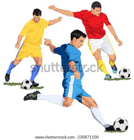 Soccer football players - stock vector