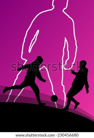 Soccer football players active young and healthy men sport silhouettes vector abstract background illustration - stock vector