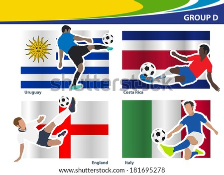Stock Vector Soccer Football Players Brazil Group D Vector Illustration Modern Design Template on Electric Fan Motor Replacement Repalcement Parts And Diagram