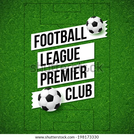 Soccer football poster. Soccer football field background with soccer football ball. Vector illustration.  - stock vector