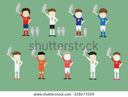 Soccer football team character vector design with trophy on hand - stock vector