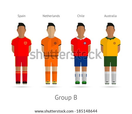 Soccer / Football team players. Group B - Spain, Netherlands, Chile, Australia. Vector illustration. - stock vector