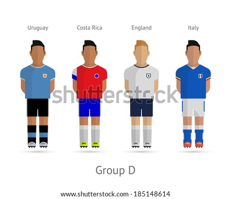 Soccer / Football team players. Group D - Uruguay, Costa Rica, England, Italy. Vector illustration. - stock vector