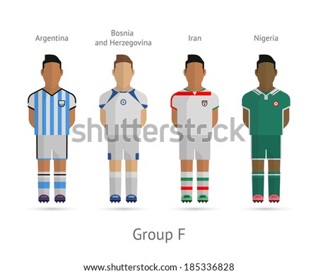 Soccer / Football team players. Group F - Argentina, Bosnia and Herzegovina, Iran, Nigeria. Vector illustration. - stock vector