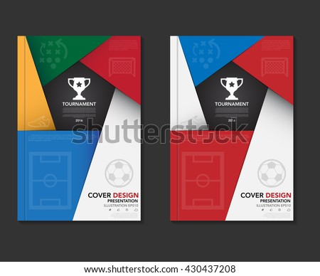 Soccer ( football ) tournament book cover template ,soccer tournament background.Illustration eps10