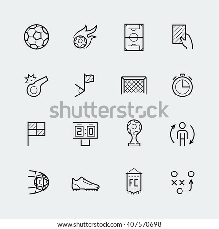 Soccer, football vector icon set in thin line style - stock vector