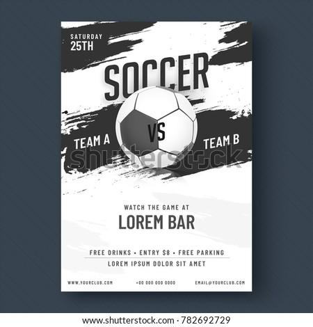 Soccer game flyer or poster design black and white design