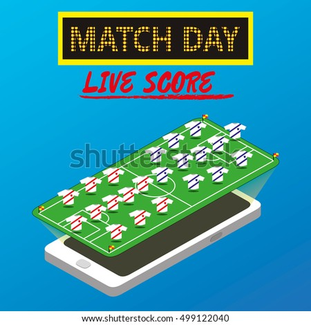 Soccer game. The application. Live scores. Vector illustration