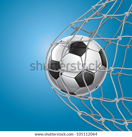 Soccer Goal. A soccer ball in a net. Vector illustration - stock vector