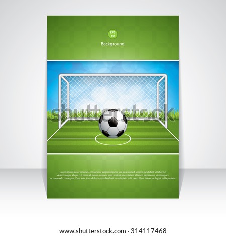 Soccer goal and ball brochure.Vector - stock vector